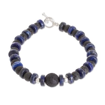 Volcanic Stone & Lapis Lazuli Beaded Bracelet from Guatemala