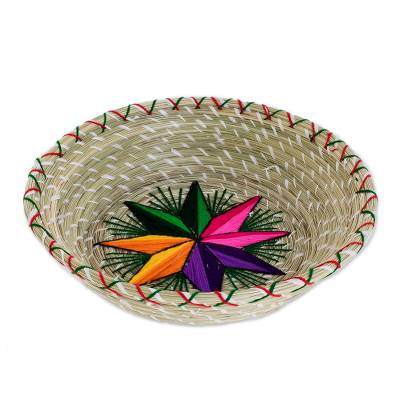 Rainbow Star Natural Fiber Decorative Basket from Guatemala