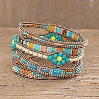 Glass beaded wrap bracelet, 'Las Flores' - Aqua & Earthtone Glass Bead Wrap Bracelet from Guatemala