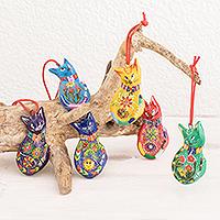 Ceramic ornaments, 'Rainbow Cats' (Set of 6)