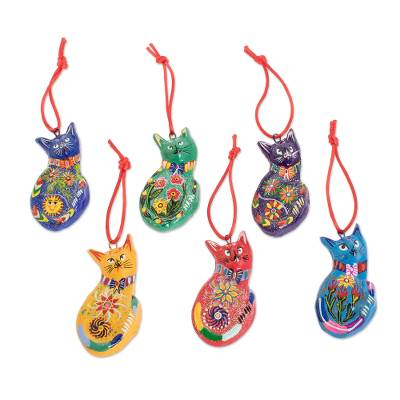 Ceramic ornaments, 'Rainbow Cats' (Set of 6) - Set of 6 Terracotta Hanging Cat Ornaments From Guatemala