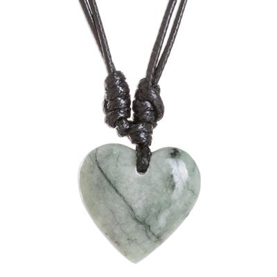 Apple Green Jade Heart Necklace