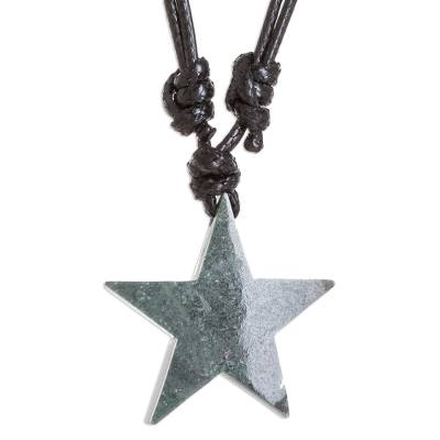 Star Pendant Necklace with Jade