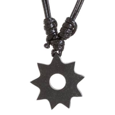 Pendant Necklace with Very Dark Green Jade