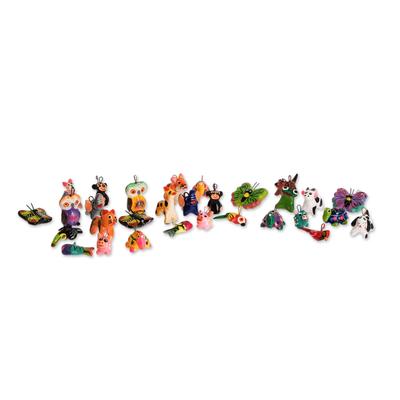 Terracotta mini ornament set, 'Noah's Ark Friends' (Set of 30) - Terracotta AnimalsMini Ornaments (Set of 30)