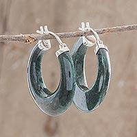 Jade hoop earrings, 'Woodland Spirit' - Green Jade and Sterling Silver Hoop Earrings from Guatemala