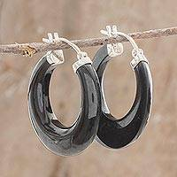 Jade hoop earrings, 'Volcanic Energy'