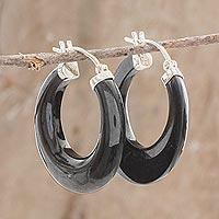 Jade hoop earrings, 'Volcanic Energy'