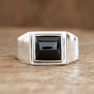 Men's jade single stone ring, 'Mayan Energy in Black' - Men's Black Jade Single Stone Ring from Guatemala