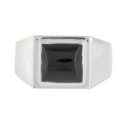 Men's jade single stone ring, 'Mayan Energy in Black' - Men's Black Jade Single Stone Ring from Guatemala