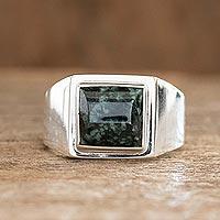 Men's jade single stone ring, 'Mayan Energy in Dark Green' - Men's Dark Green Jade Single Stone Ring from Guatemala
