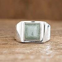Men's jade single stone ring, 'Mayan Energy in Apple Green' - Men's Apple Green Jade Single Stone Ring from Guatemala