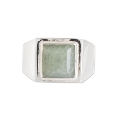 Men's jade single stone ring, 'Mayan Energy in Apple Green' - Men's Apple Green Jade Single Stone Ring from Guatemala