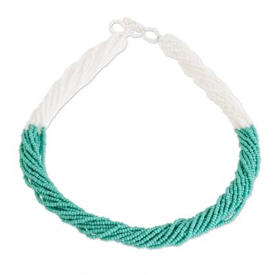 Turquoise Glass Bead Rope Necklace from Guatemala