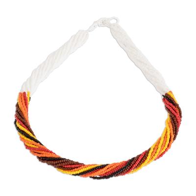 Glass beaded torsade necklace, 'Fire Harmony' - Earthy Hues Glass Beaded Torsade Necklace from Guatemala