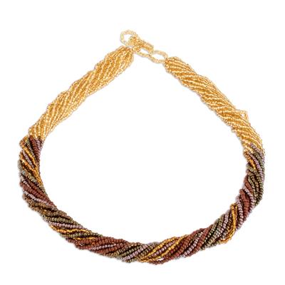 Glass beaded torsade necklace, 'Golden Harmony' - Metallic Glass Beaded Torsade Necklace NOVICA Guatemala