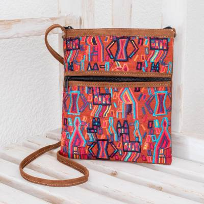 Cotton and faux suede sling bag, 'Dancing Chapines in Fuchsia' - Handloomed Geometric Pattern Cotton Sling Bag from Guatemala