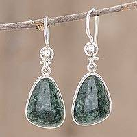Jade dangle earrings, 'Asymmetry in Green'