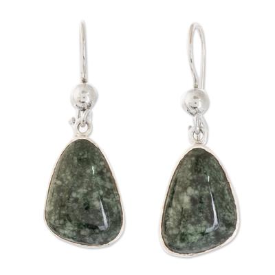 Jade dangle earrings, 'Asymmetry in Green' - 925 Sterling Silver Dark Green Jade Earrings from Guatemala