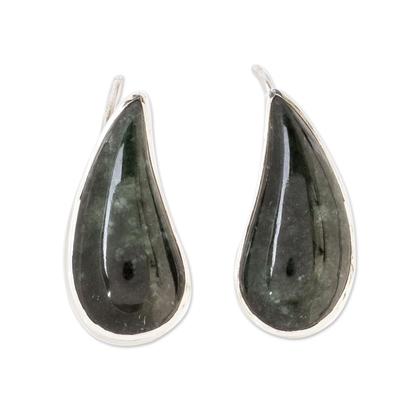 Jade ear cuffs, 'Love Signals' - Dark Green Jade Climber Ear Cuff from Guatemala