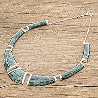 Jade pendant necklace, 'Warrior K'abel in Dark Green' - Dark Green Jade Pendant Necklace from Guatemala