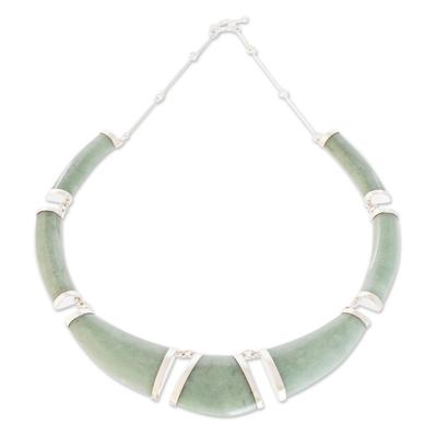 Jade pendant necklace, 'Warrior K'abel in Apple Green' - Apple Green Jade Pendant Necklace from Guatemala