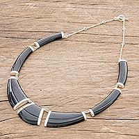 Jade pendant necklace, 'Warrior K'abel in Black' - Black Jade Pendant Necklace from Guatemala