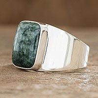 Men's jade single stone ring, 'Virtue in Green'