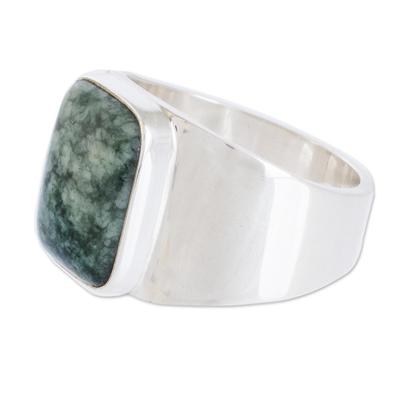 Men's jade single stone ring, 'Virtue in Green' - Green Jade Men's Statement Ring from Guatemala