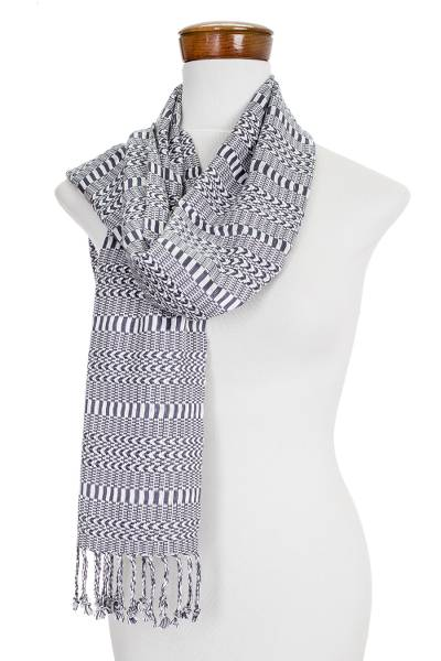 Grey and White Patterned Scarf
