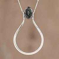 Jade pendant necklace, 'Equilibrium in Dark Green' - Modernist Dark Green Jade Pendant Necklace from Guatemala