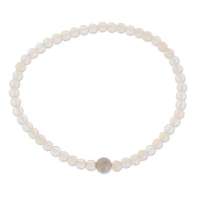 Moonstone and Lilac Jade Beaded Bracelet from Guatemala