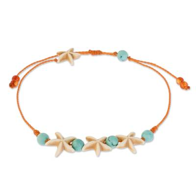 Starfish and Turquoise Adjustable Anklet from Guatemala