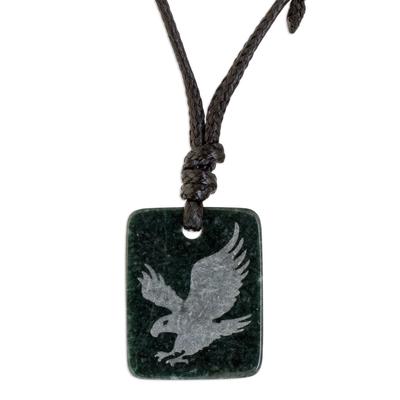 Dark Green Jade Eagle Pendant Necklace from Guatemala
