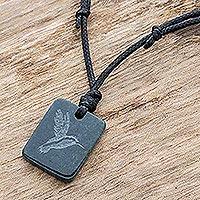 Jade pendant necklace, 'Gliding Hummingbird' - Dark Green Jade Hummingbird Pendant Necklace from Guatemala