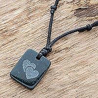 Jade pendant necklace, 'Close Hearts' - Hearts Pendant Necklace in Dark Green Jade from Guatemala