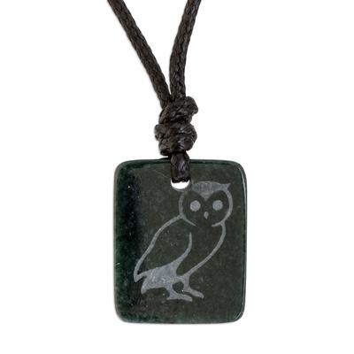 Jade pendant necklace, 'Perceptive Owl' - Dark Green Jade Owl Pendant Necklace from Guatemala