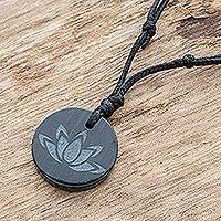Jade pendant necklace, 'Revered Lotus' - Dark Green Jade Lotus Flower Pendant Necklace from Guatemala
