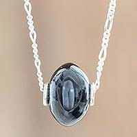 Jade pendant necklace, 'Fortune in Black' - Rounded Black Jade Pendant Necklace from Guatemala