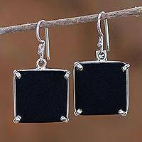 Jade dangle earrings, 'Black Abstractions' - Square Cut Black Jade and Silver Earrings from Guatemala