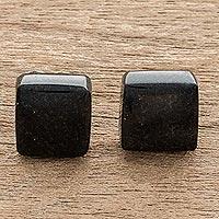 Jade stud earrings, 'Midnight Perfection' - Minimal Square Cut Black Jade Stud Earrings from Guatemala