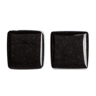 Minimal Square Cut Black Jade Stud Earrings from Guatemala