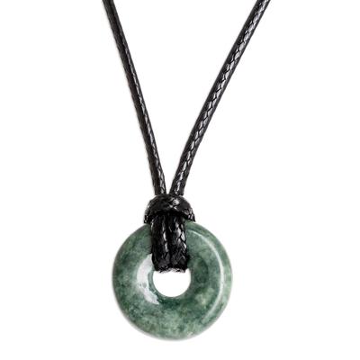 Adjustable Circular Dark Green Jade Necklace from Guatemala