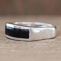 Men's jade inlay ring, 'Bravery in Black' - Men's Rectangular Inlay Black Jade Band Ring from Guatemala