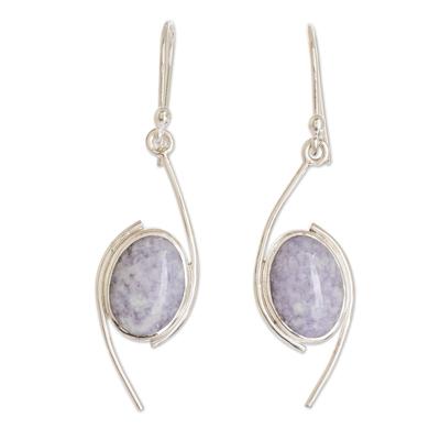 Jade dangle earrings, 'Way of Life in Lilac' - Sterling Silver Lilac Jade Dangle Earrings from Guatemala