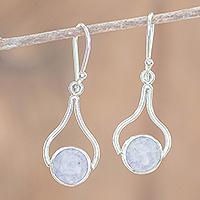 Jade dangle earrings, 'Mixco Renaissance in Lilac' - Teardrop Dangle Earrings with Lilac Jade from Guatemala