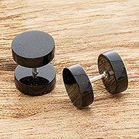 Jade stud earrings, 'Dark Sierra' - Unisex Jade Faux Ear Plug Stud Earrings
