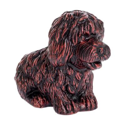 Russet Ceramic Dog Shaped Planter from El Salvador