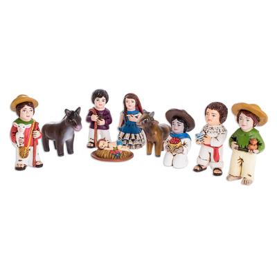 Nativity Scene Ceramic Figurines from El Salvador (9 Pieces)