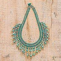 Beaded waterfall necklace, 'Symphony of Color in Green' - Green Beaded Waterfall Necklace